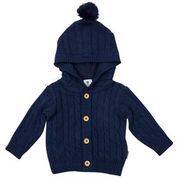 Rustic Class Lined Cable Knit Jacket - Navy