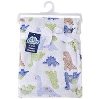 Snugtime Coral Fleece Blanket -  Dinosaurs Blue