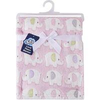 Snugtime Coral Fleece Blanket -  Pink Elephants