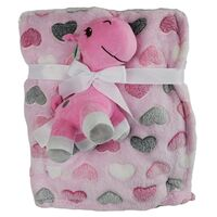 Snugtime Coral Fleece Blanket with Toy - Pink Hearts
