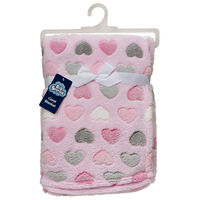Supersoft Coral Fleece Blanket -  Hearts Print