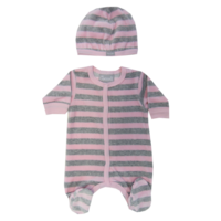 W3921  Velour Romper Pink/Grey