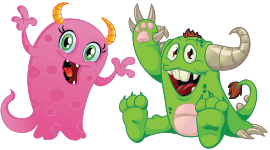 Pink and Green Characters